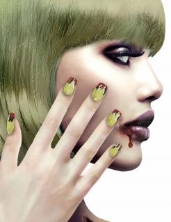Künstliche Fingernägel mit Hexen-Motiv 12 Stück grün-rot