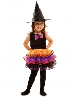 Kleine Hexe Halloween Kostüm für Kinder schwarz-bunt