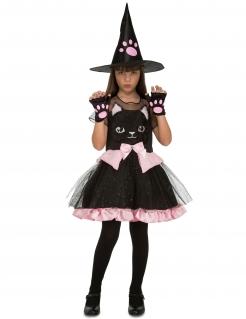 Entzückendes Hexen-Kostüm für Mädchen schwarz-rosa
