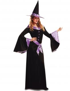 Edle Hexe Halloween Kostüm für Frauen schwarz-lila
