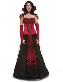 Vampirfürstin Damenkostüm für Halloween rot-schwarz