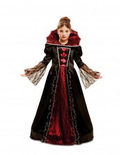 Barockes Vampir-Kostüm für Mädchen schwarz-rot