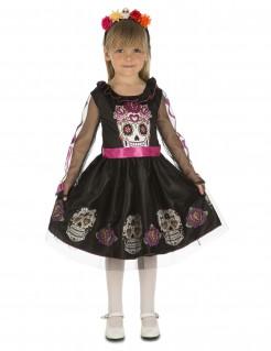 Tag der Toten-Kostüm für Mädchen bunt