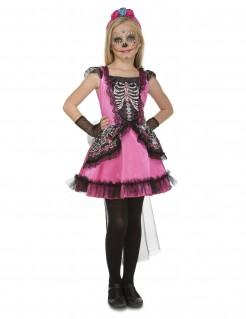 Tag der Toten-Mädchenkostüm rosa-schwarz-weiss