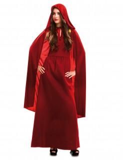 Geheimnisvolle Vampirin Halloween Kostüm für Damen mit Umhang und Kapuze rot