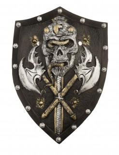 Totenkopf-Schild Wikingerschild schwarz-silber-gold 48cm