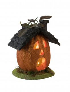 Leuchtendes Kürbis-Häuschen Halloween-Tischdeko orange-schwarz-grün 23cm