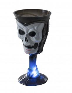 Totenkopf Weinkelch Halloween-Deko schwarz-weiß-blau