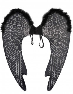 Dunkle Engelsflügel Kostümaccessoire schwarz-silber