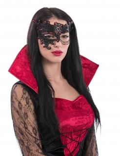 Halloween Damen-Halbmaske Ornamente schwarz-rot