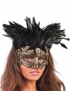 Halloween-Augenmaske mit Totenkopf und Federn Kostüm-Accessoire gold-schwarz