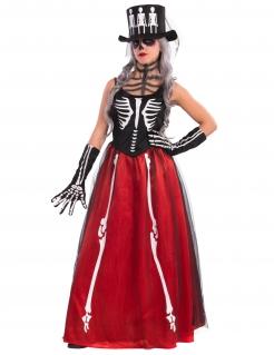 Elegante Skelett-Frau Halloween-Damenkostüm schwarz-weiss-rot