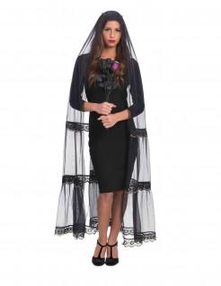 Langer Schleier für Damen Halloween-Accessoire schwarz