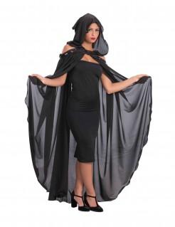 Langes Cape mit Kapuze Kostüm-Accessoire für Halloween schwarz