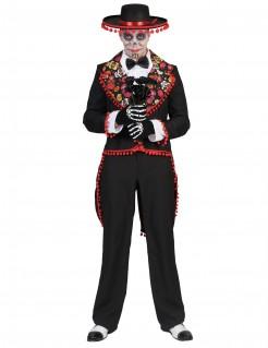 Mexikanisches Tag-der-Toten-Kostüm für Herren schwarz-rot