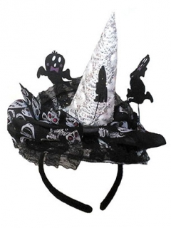Hexen Mini-Hut mit Geistern Kostüm-Accessoire schwarz-weiss