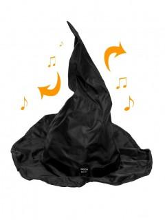 Tanzender Hexenhut Halloween-Partydeko animiert schwarz 40cm