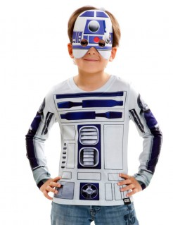 Star Wars Kinder-Shirt R2-D2 Lizenzware weiss-blau