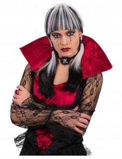 Gothic Vampirin Halloween-Damenperücke mit Pony grau-schwarz