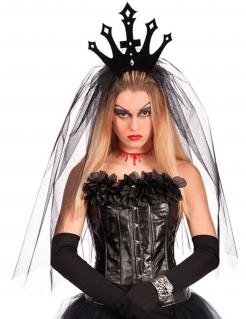 Dunkle Königin Krone mit Schleier Halloween Kostüm-Accessoire schwarz