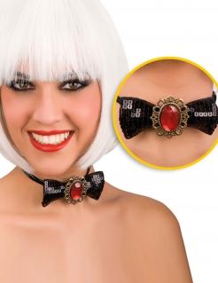 Gothic Fliege mit rotem Schmuckstein Halloween-Accessoire schwarz-rot