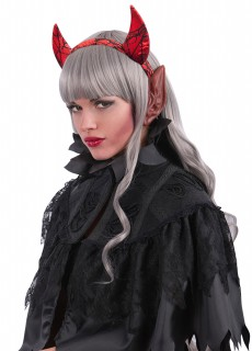 Teufelshörner-Haarreif mit Ohren Teufelskostüm-Accessoire rot-schwarz