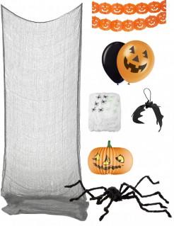 Klassisches Halloween Deko-Set mit Kürbissen 8-teilig orange-schwarz