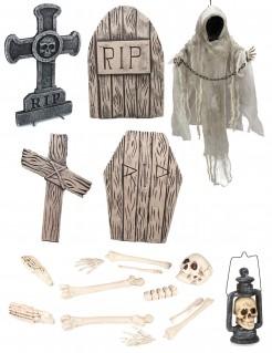 Friedhof Deko-Set für Halloween Partydeko 5-teilig beige-grau-weiss