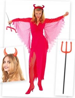 Elegante Teufelin Kostüm-Set für Halloween 3-teilig rot-schwarz