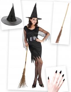 Sexy Hexe Kostüm-Set für Halloween 3-teilig schwarz-braun