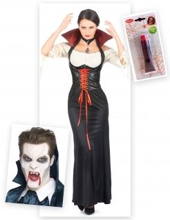 Vampirgräfin Kostüm-Set für Halloween 3-teilig bunt