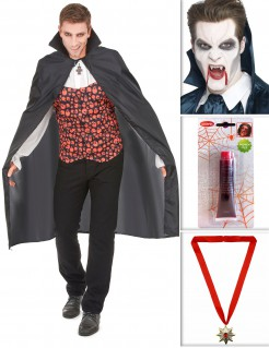 Vampirgraf Dracula Accessoire-Set für Halloween 4-teilig bunt