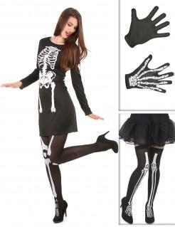 Skelett-Dame Kostüm-Set für Halloween 3-teilig schwarz-weiss