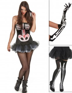 Sexy Skelettdame Kostüm-Set für Halloween 3-teilig schwarz-weiss