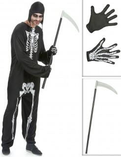 Skelett Halloween Verkleidungs-Set für Herren 3-teilig schwarz-weiss