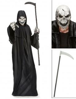 Grimmiger Sensenmann Verkleidungs-Set für Halloween 3-teilig schwarz-weiss
