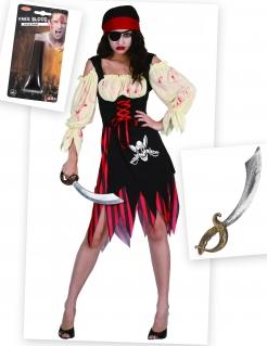 Zombie-Piratin Kostüm-Set für Halloween 3-teilig schwarz-beige-rot