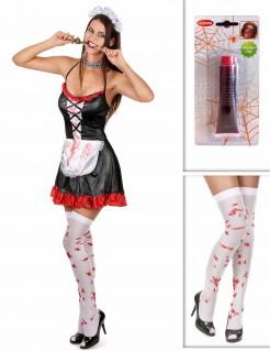 Blutiges Zombie-Zimmermädchen Halloween Kostüm-Set für Damen 3-teilig schwarz-rot-weiss