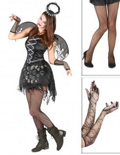 Dunkler Gothic-Engel Kostüm-Set für Halloween 3-teilig schwarz-grau