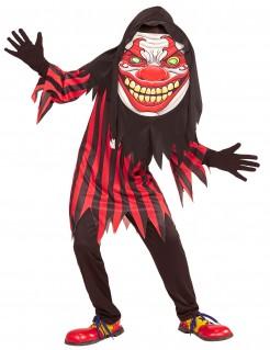 Clown-Kostüm mit riesigem Kopf für Halloween schwarz-rot