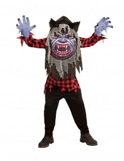 Werwolf-Kostüm für Jugendliche schwarz-rot-grau