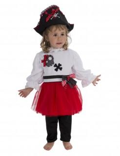 Niedliches Piratenkostüm für Kleinkinder schwarz-rot-weiss