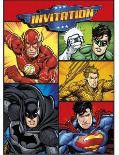 Justice League™-Einladungskarten 8 Stück bunt