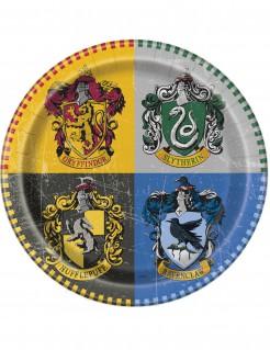 Harry Potter™ Pappteller mit Wappen der Hogwarts-Häuser Lizenz-Tischdeko 8 Stück 23cm