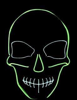 Nachtleuchtende LED-Totenkopf-Maske Halloween schwarz