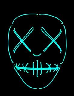 Nachtleuchtende LED Voodoo Halloweenmaske schwarz-blau