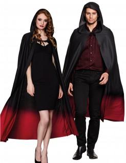 Halloween-Umhang mit Kapuze schwarz-rot