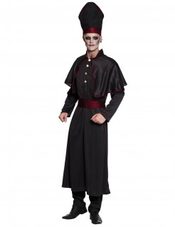 Untoter Priester Halloween-Kostüm schwarz