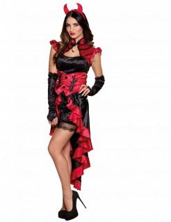 Dämonen Damenkostüm für Halloween rot-schwarz