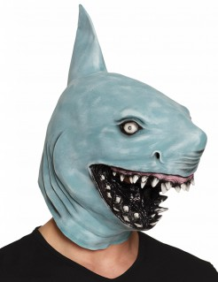 Bissige Hai-Maske Haifisch-Latexmaske blau